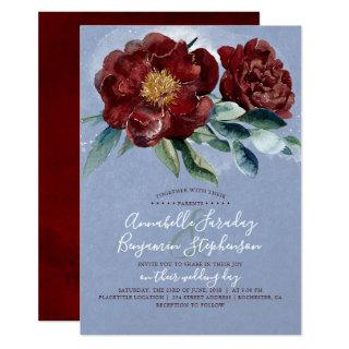 Dusty Blue and Cranberry Burgundy Red Wedding Invitation