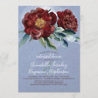 Dusty Blue and Cranberry Burgundy Rehearsal Dinner Invitations
