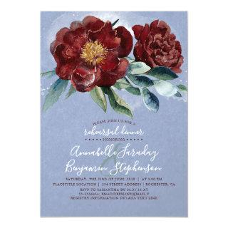 Dusty Blue and Cranberry Burgundy Rehearsal Dinner Invitation