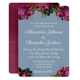 Dusty Blue and Cranberry Burgundy Wedding Invitations