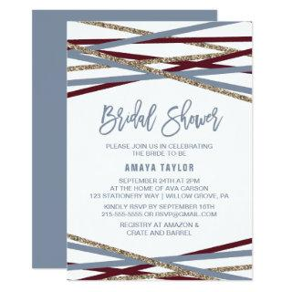 Dusty Blue and Cranberry Streamers Bridal Shower Invitation