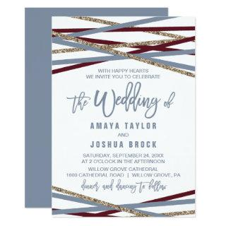 Dusty Blue and Cranberry Streamers The Wedding Of Invitations