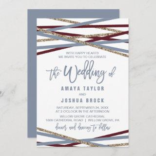 Dusty Blue and Cranberry Streamers The Wedding Of Invitation
