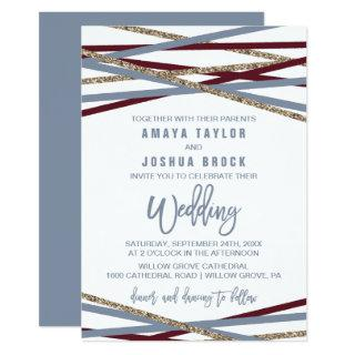 Dusty Blue and Cranberry Streamers Wedding Invitations
