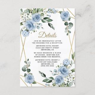 Dusty Blue and Gold Elegant Floral Rustic Wedding Enclosure Card