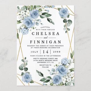 Dusty Blue and Gold Elegant Floral Rustic Wedding Invitations