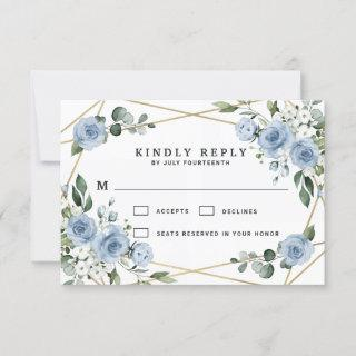 Dusty Blue and Gold Elegant Floral Rustic Wedding RSVP Card
