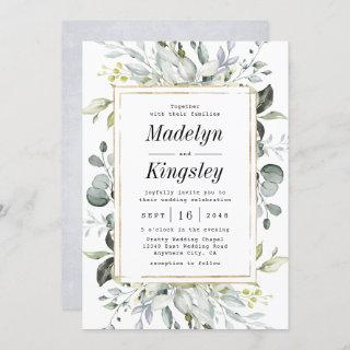 Dusty Blue and Gold Elegant Rustic Floral Wedding Invitations