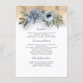 Dusty Blue And Gold Wedding Information Guest Enclosure Card