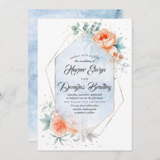 Dusty Blue and Living Coral Floral Modern Wedding Invitations