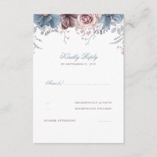 Dusty Blue and Mauve Floral Wedding RSVP