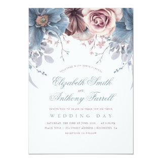 Dusty Blue and Mauve Watercolor Floral Wedding Invitations