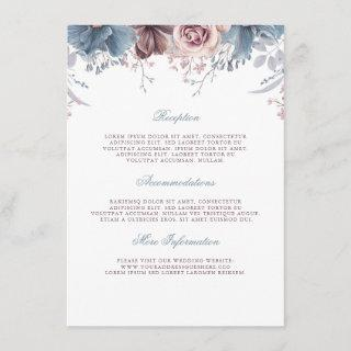 Dusty Blue and Mauve Wedding Information Guest Enclosure Card