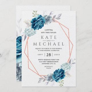 Dusty Blue and Navy Floral Elegant Invitation