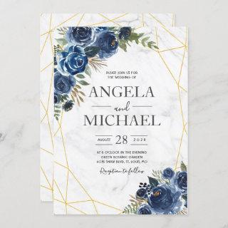 Dusty Blue and Navy Floral Elegant Invitations