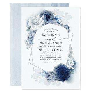 Dusty Blue and Navy Floral Elegant Silver Wedding Invitations