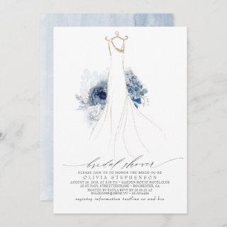 Dusty Blue and Navy Flowers Dress Bridal Shower