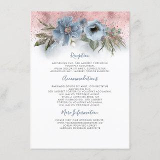 Dusty Blue And Rose Gold Wedding Information Guest Enclosure Card
