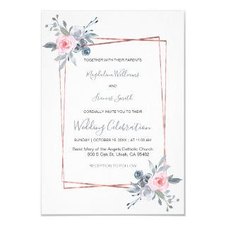 dusty blue and rose pink wedding Invitations