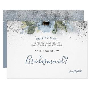 Dusty Blue and Silver Will You Be My Bridesmaid Invitation