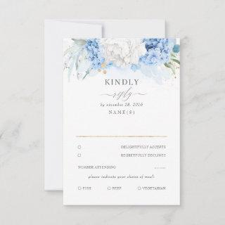 Dusty Blue and White Floral Wedding RSVP