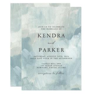 Dusty Blue Artistic Abstract Brushstrokes Wedding Invitation