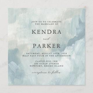 Dusty Blue Artistic Abstract Brushstrokes Wedding
