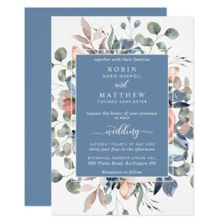 Dusty Blue Blissful Floral and Greenery Wedding Invitations
