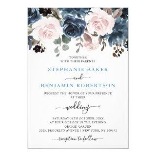 Dusty Blue Blush Pink Floral Botanical Wedding Invitations