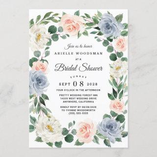 Dusty Blue Blush Pink Peach Floral Bridal Shower Invitations