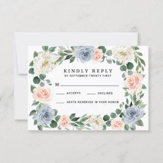 Dusty Blue Blush Pink Peach Wedding RSVP Cards