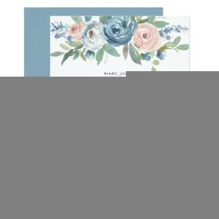 Dusty Blue & Blush Rose Floral Watercolor Wedding Invitation