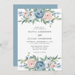 Dusty Blue & Blush Rose Floral Watercolor Wedding Invitations