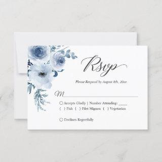 Dusty Blue Botanical Floral Wedding RSVP Card