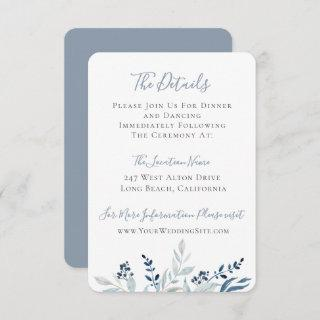 Dusty Blue Botanical Foliage Wedding Details Invitation