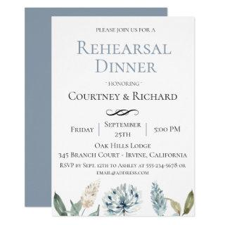 Dusty Blue Botanical Rehearsal Dinner Invitations