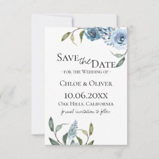 Dusty Blue Botanical Save The Date Announcement