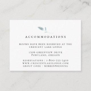 Dusty Blue Botanical Wedding Accommodations Enclosure Card