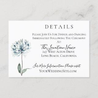 Dusty Blue Botanical Wedding Details Invitation