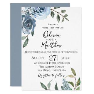 Dusty Blue Botanical Wedding Invitations