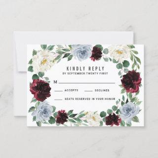 Dusty Blue Burgundy Cranberry Fall Wedding RSVP