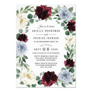 Dusty Blue Burgundy Elegant Fall Engagement Party Invitations
