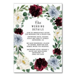 Dusty Blue Burgundy Fall Wedding Enclosure Cards