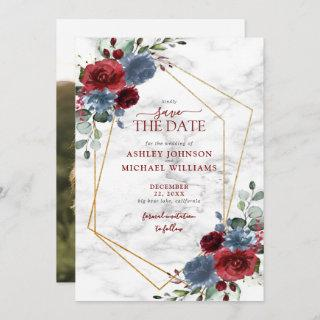 Dusty Blue Burgundy Floral Photo Save the Date