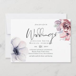 Dusty Blue Coral Modern Wedding Invitations Budget