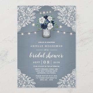 Dusty Blue Country Lace Mason Jar Bridal Shower Invitations