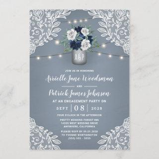 Dusty Blue Country Lace Mason Jar Engagement Party Invitation