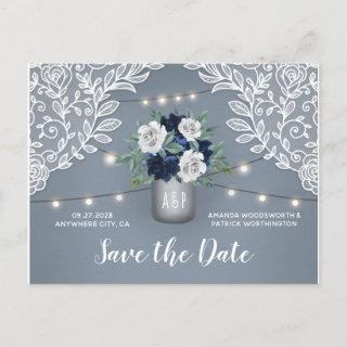 Dusty Blue Country Lace Mason Jar Save the Date Announcement Postcard