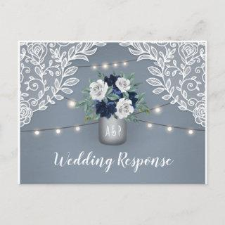 Dusty Blue Country Lace Mason Jar Wedding RSVP Invitations Postcard