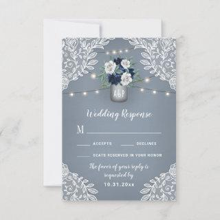 Dusty Blue Country Mason Jar Wedding RSVP Cards